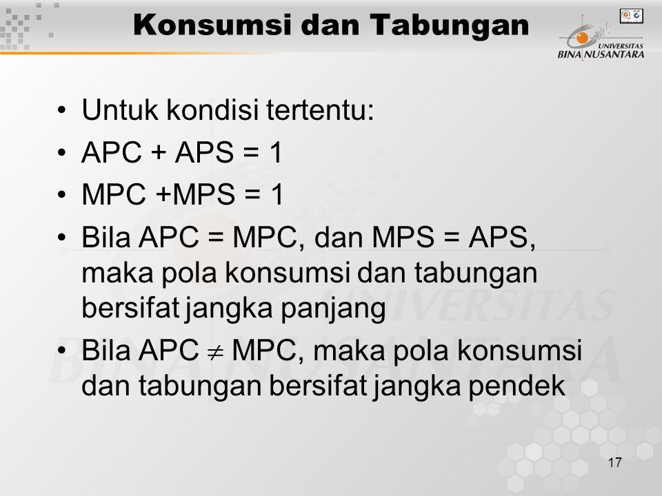 17 Konsumsi dan Tabungan Untuk kondisi tertentu: APC + APS = 1 MPC +MPS = 1 Bila APC = MPC, dan MPS = APS, maka pola konsumsi dan tabungan bersifat ja