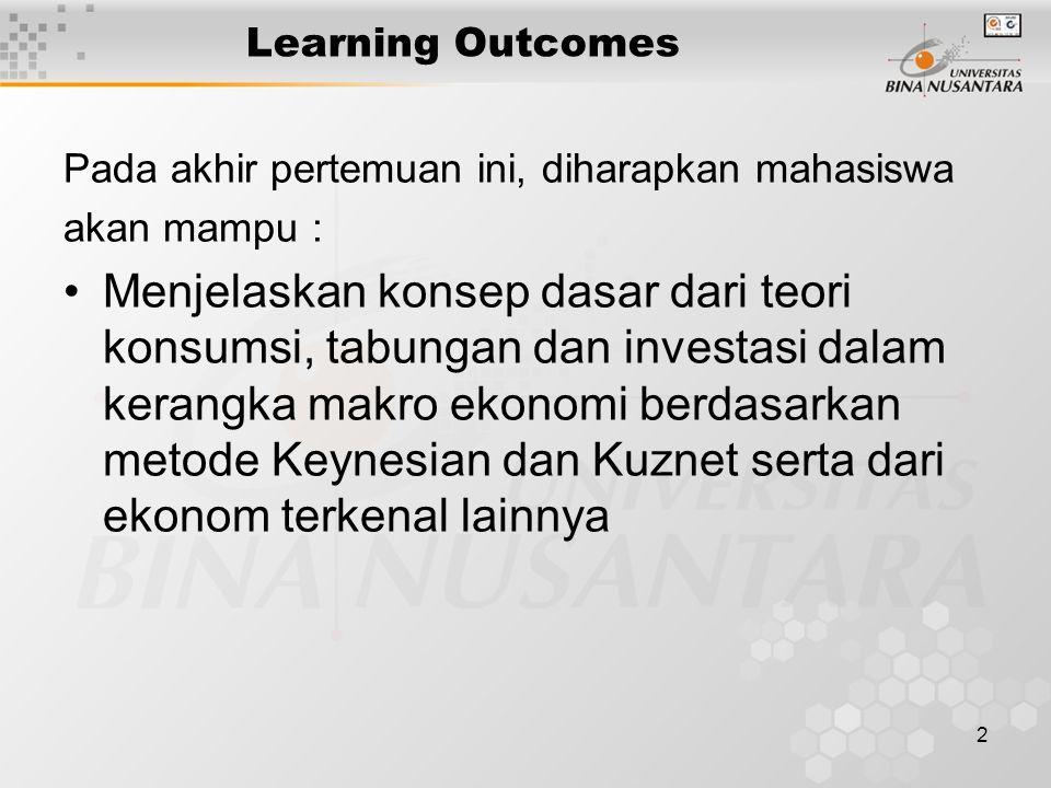 2 Learning Outcomes Pada akhir pertemuan ini, diharapkan mahasiswa akan mampu : Menjelaskan konsep dasar dari teori konsumsi, tabungan dan investasi d