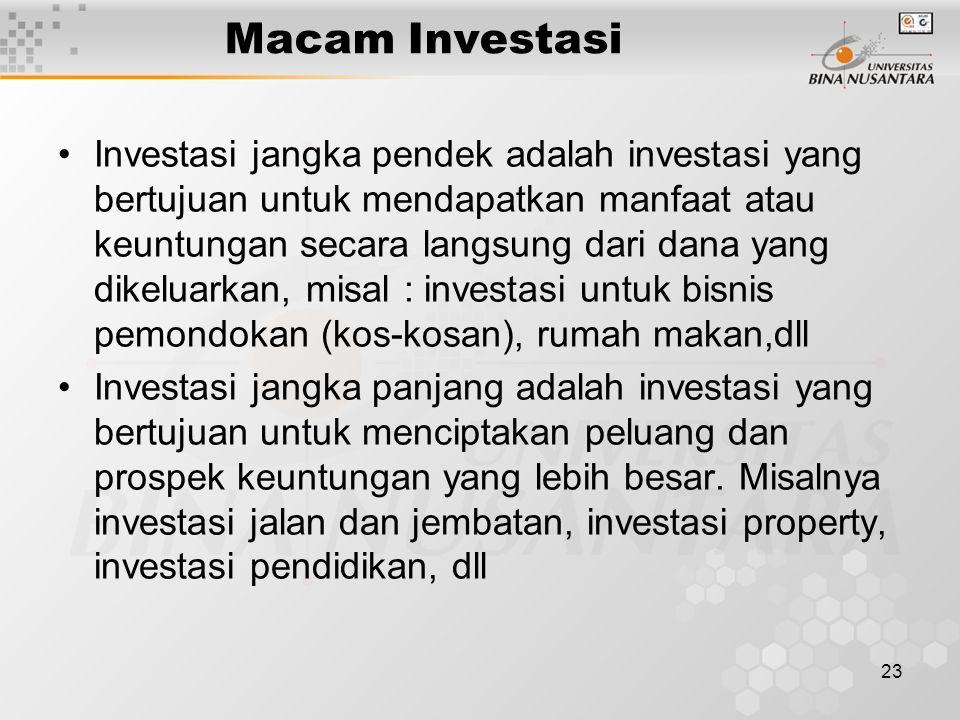 23 Macam Investasi Investasi jangka pendek adalah investasi yang bertujuan untuk mendapatkan manfaat atau keuntungan secara langsung dari dana yang di