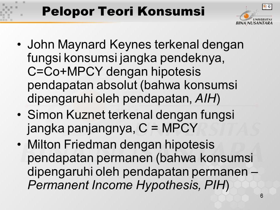 6 Pelopor Teori Konsumsi John Maynard Keynes terkenal dengan fungsi konsumsi jangka pendeknya, C=Co+MPCY dengan hipotesis pendapatan absolut (bahwa ko