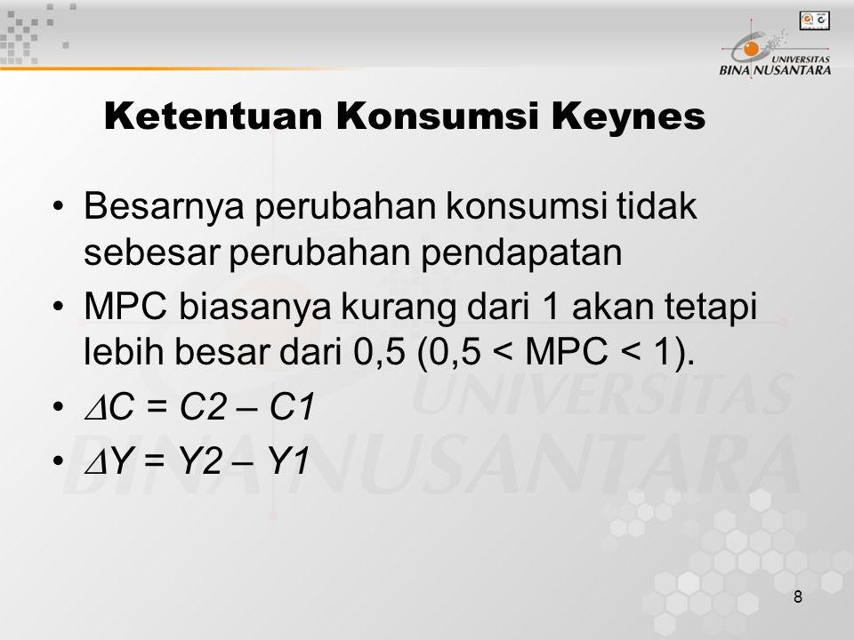 8 Ketentuan Konsumsi Keynes Besarnya perubahan konsumsi tidak sebesar perubahan pendapatan MPC biasanya kurang dari 1 akan tetapi lebih besar dari 0,5