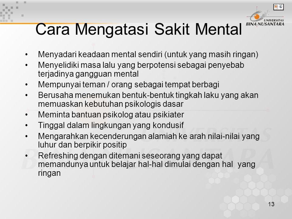 13 Menyadari keadaan mental sendiri (untuk yang masih ringan) Menyelidiki masa lalu yang berpotensi sebagai penyebab terjadinya gangguan mental Mempun