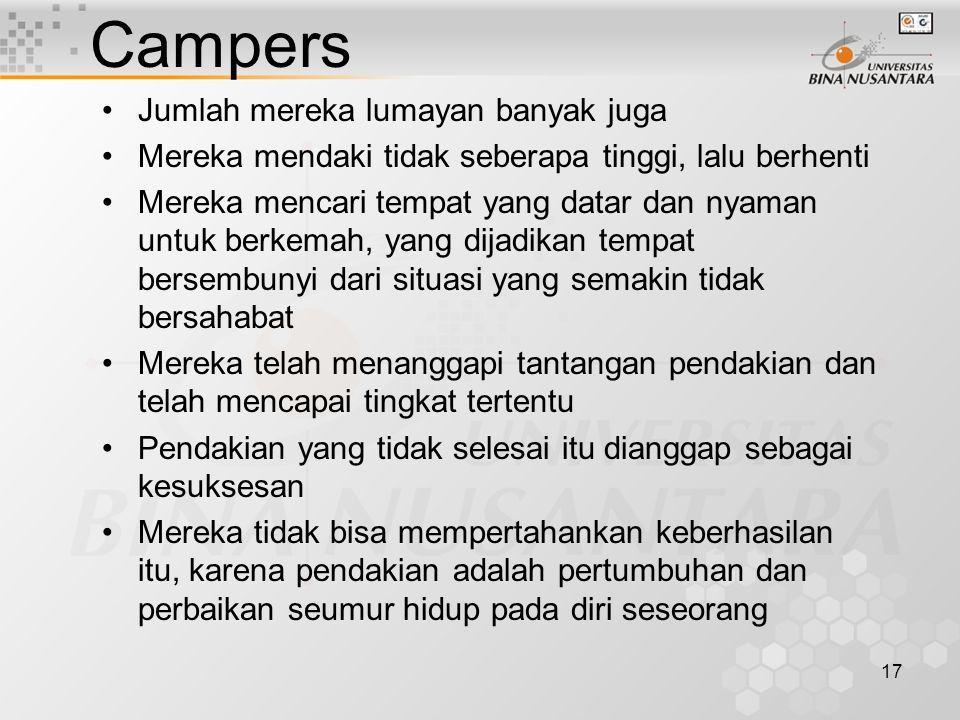 17 Campers Jumlah mereka lumayan banyak juga Mereka mendaki tidak seberapa tinggi, lalu berhenti Mereka mencari tempat yang datar dan nyaman untuk ber