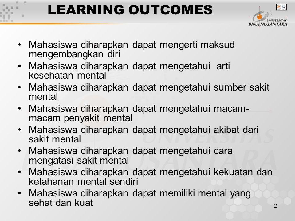 2 LEARNING OUTCOMES Mahasiswa diharapkan dapat mengerti maksud mengembangkan diri Mahasiswa diharapkan dapat mengetahui arti kesehatan mental Mahasisw