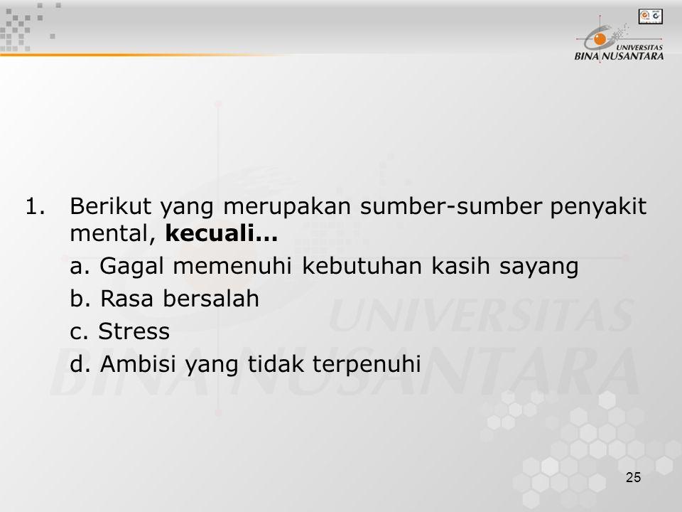 25 1.Berikut yang merupakan sumber-sumber penyakit mental, kecuali… a. Gagal memenuhi kebutuhan kasih sayang b. Rasa bersalah c. Stress d. Ambisi yang