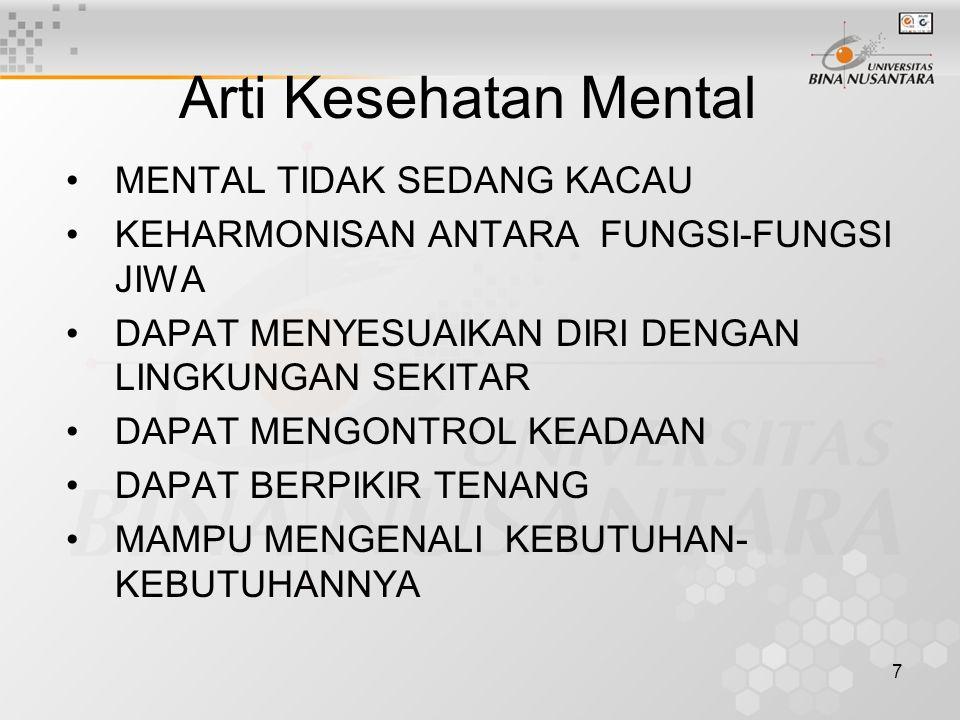 8 Pendalaman mengenai kesehatan mental lebih banyak didekati melalui pembahasan tentang penyakit mental Mental sehat adalah suatu keadaan dimana mental tidak dalam keadaan terganggu Gangguan / penyakit mental (mental disesase, mental disorder) merupakan penyakit disefisiensi, suatu ketidakmampuan individu mengenali serta memuaskan kebutuhan- kebutuhannya