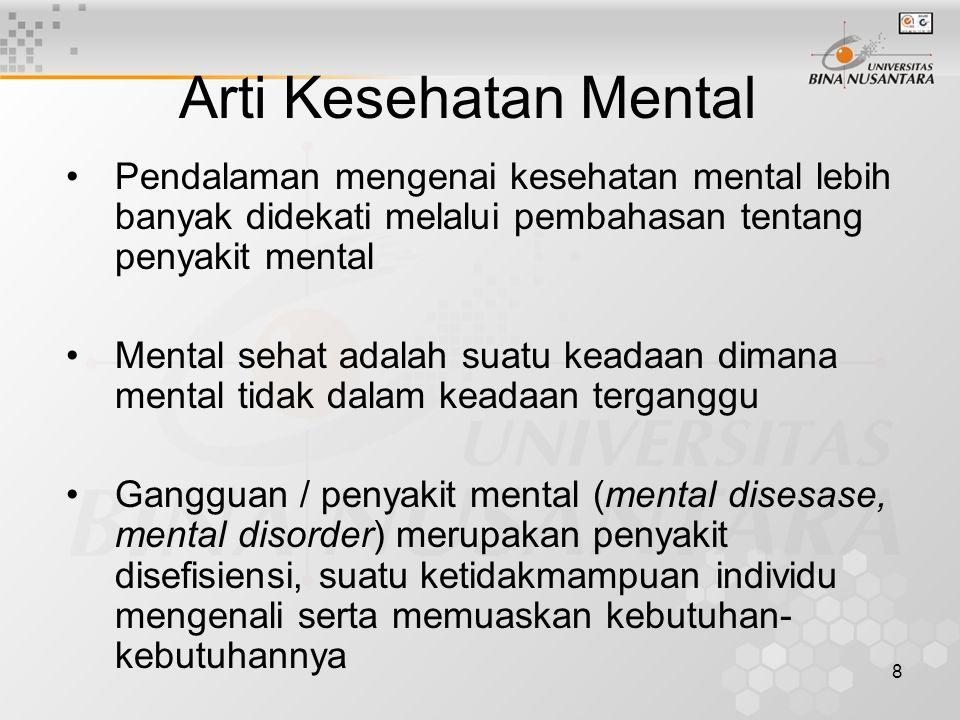 8 Pendalaman mengenai kesehatan mental lebih banyak didekati melalui pembahasan tentang penyakit mental Mental sehat adalah suatu keadaan dimana menta