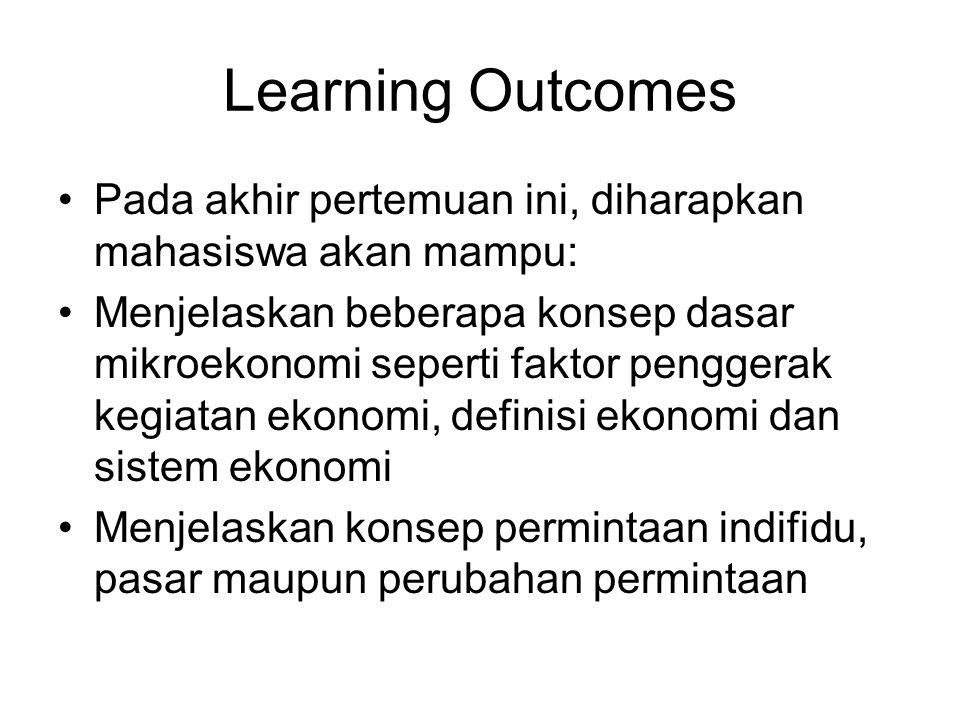 Learning Outcomes Pada akhir pertemuan ini, diharapkan mahasiswa akan mampu: Menjelaskan beberapa konsep dasar mikroekonomi seperti faktor penggerak k