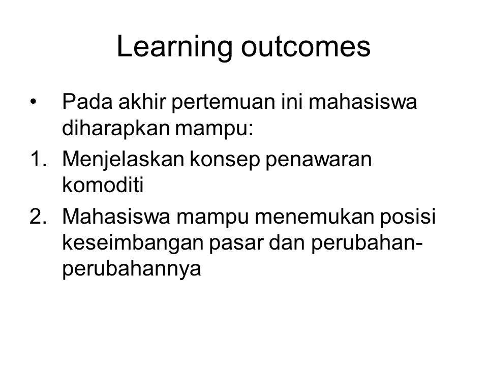 Learning outcomes Pada akhir pertemuan ini mahasiswa diharapkan mampu: 1.Menjelaskan konsep penawaran komoditi 2.Mahasiswa mampu menemukan posisi kese