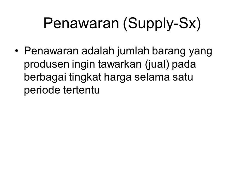 Penawaran (Supply-Sx) Penawaran adalah jumlah barang yang produsen ingin tawarkan (jual) pada berbagai tingkat harga selama satu periode tertentu