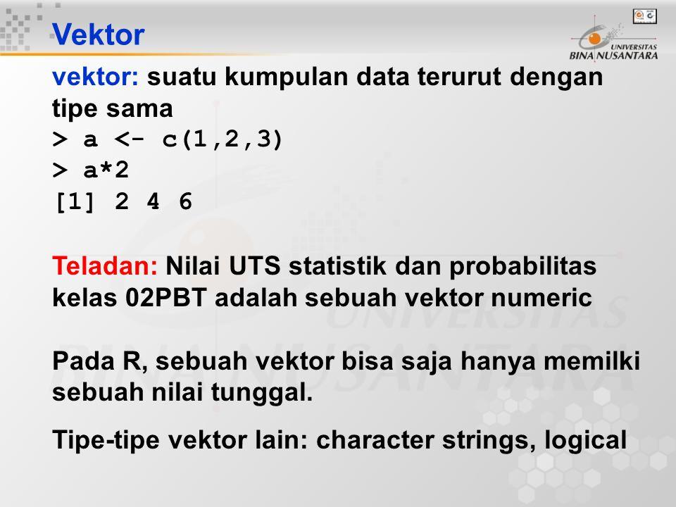 Vektor vektor: suatu kumpulan data terurut dengan tipe sama > a <- c(1,2,3) > a*2 [1] 2 4 6 Teladan: Nilai UTS statistik dan probabilitas kelas 02PBT