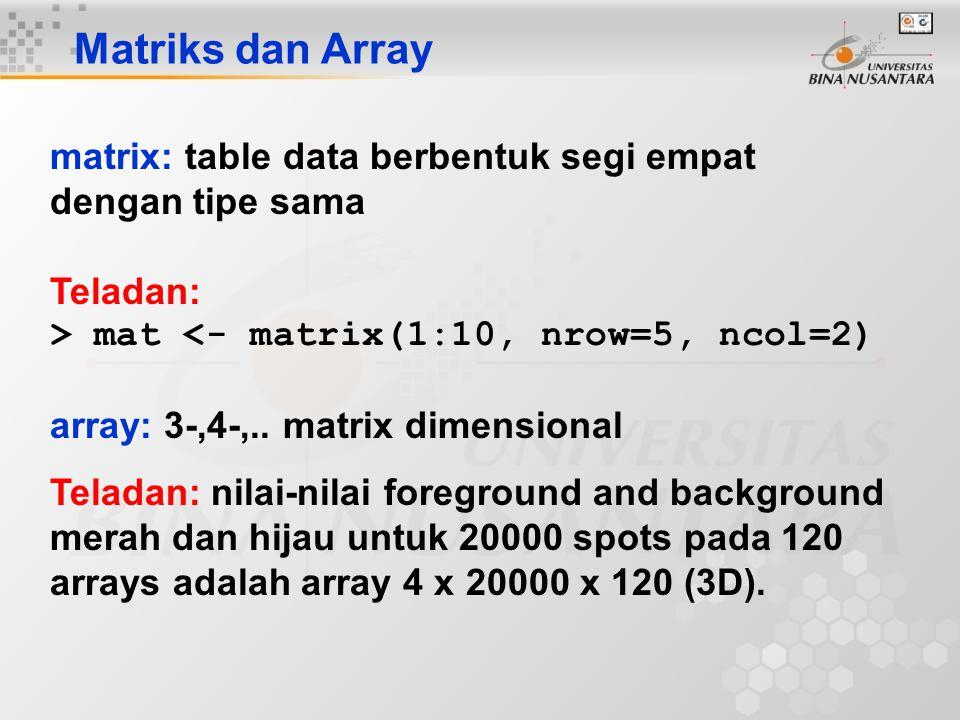 Matriks dan Array matrix: table data berbentuk segi empat dengan tipe sama Teladan: > mat <- matrix(1:10, nrow=5, ncol=2) array: 3-,4-,.. matrix dimen