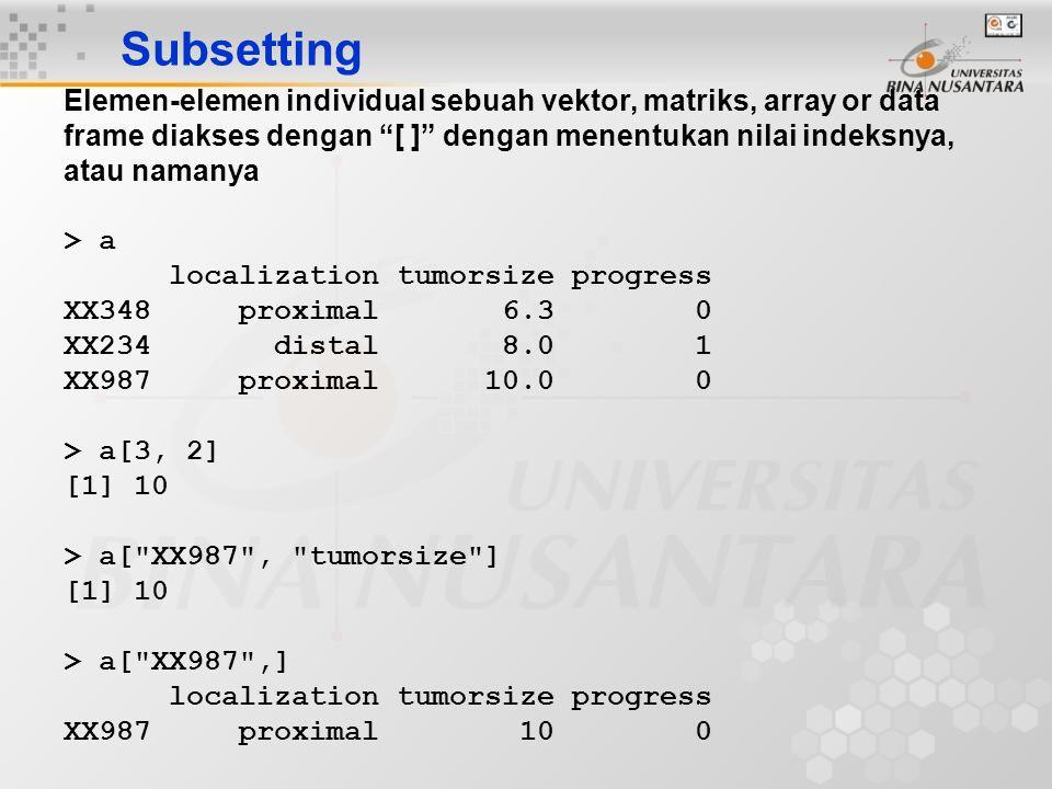 """Subsetting Elemen-elemen individual sebuah vektor, matriks, array or data frame diakses dengan """"[ ]"""" dengan menentukan nilai indeksnya, atau namanya >"""