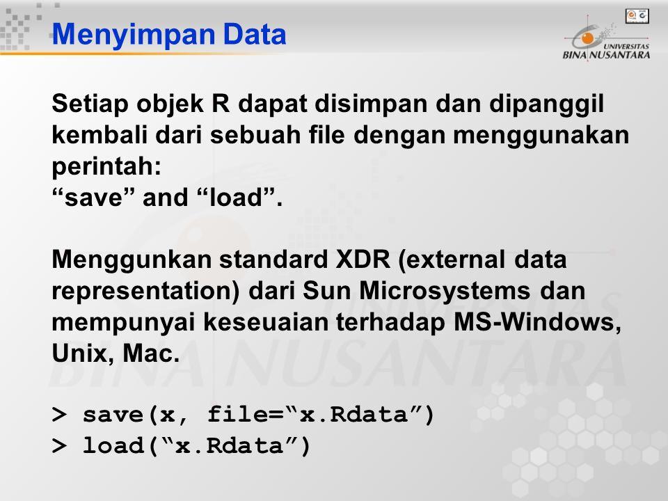 """Menyimpan Data Setiap objek R dapat disimpan dan dipanggil kembali dari sebuah file dengan menggunakan perintah: """"save"""" and """"load"""". Menggunkan standar"""
