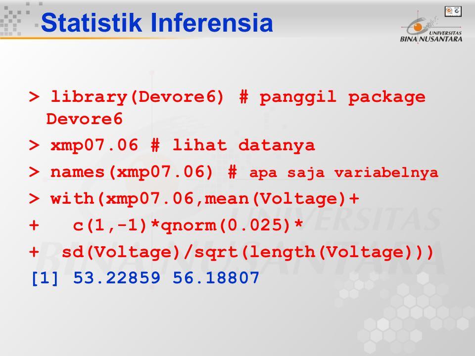 Statistik Inferensia > library(Devore6) # panggil package Devore6 > xmp07.06 # lihat datanya > names(xmp07.06) # apa saja variabelnya > with(xmp07.06,