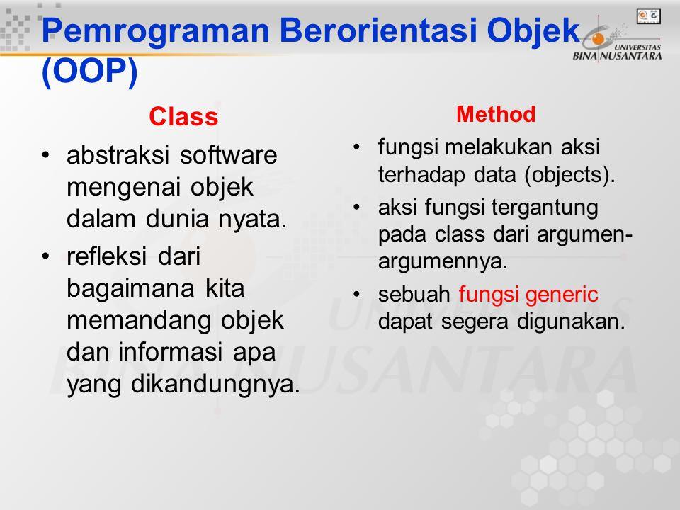 Pemrograman Berorientasi Objek (OOP) Class abstraksi software mengenai objek dalam dunia nyata. refleksi dari bagaimana kita memandang objek dan infor