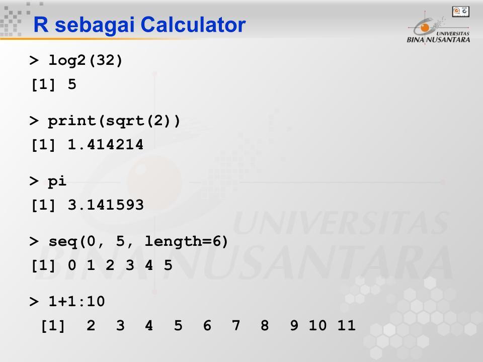 Fungsi dan Operator Fungsi melakukan sesuatu terhadap data Input : argumen-argumen fungsi (0,1,2,…) Output : hasil fungsi Teladan: add <- function(a,b) { result <- a+b return(result) } Operator: Penulisan cepat untuk fungsi-fungsi yang sering digunakan dengan satu atau dua argument.