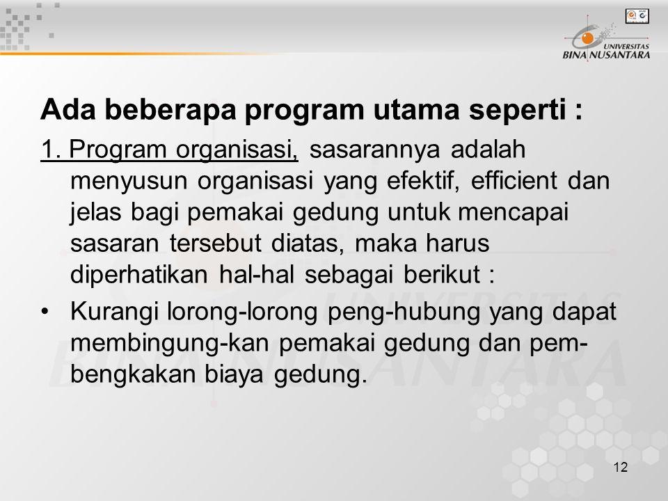 12 Ada beberapa program utama seperti : 1. Program organisasi, sasarannya adalah menyusun organisasi yang efektif, efficient dan jelas bagi pemakai ge