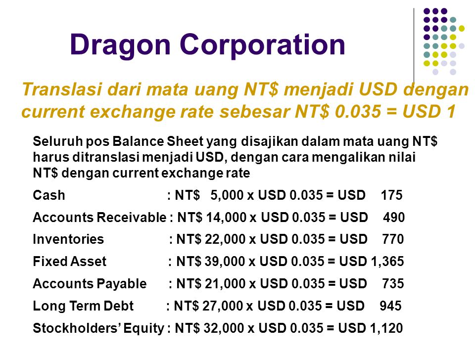 Dragon Corporation Translasi dari mata uang NT$ menjadi USD dengan current exchange rate sebesar NT$ 0.045 = USD 1 Current dan Non Current Method Current Asset dan Current Liabilities ditranslasikan berdasarkan Current Exchange Rate.