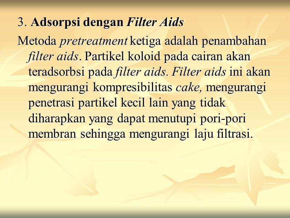 3. Adsorpsi dengan Filter Aids Metoda pretreatment ketiga adalah penambahan filter aids. Partikel koloid pada cairan akan teradsorbsi pada filter aids
