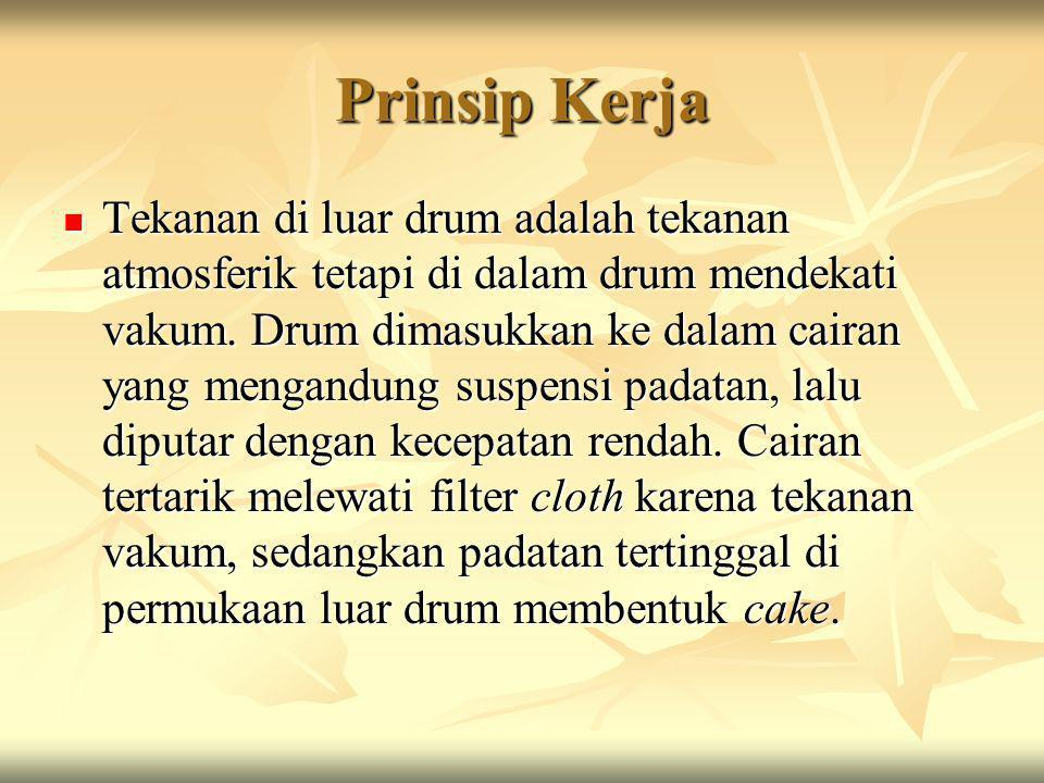 Prinsip Kerja Tekanan di luar drum adalah tekanan atmosferik tetapi di dalam drum mendekati vakum. Drum dimasukkan ke dalam cairan yang mengandung sus