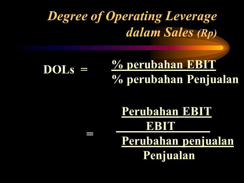 DOLs = % perubahan EBIT % perubahan Penjualan Degree of Operating Leverage dalam Sales (Rp)