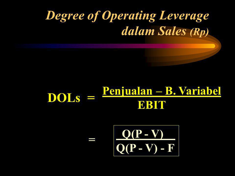 DOLs = Penjualan – B.Variabel EBIT Degree of Operating Leverage dalam Sales (Rp)