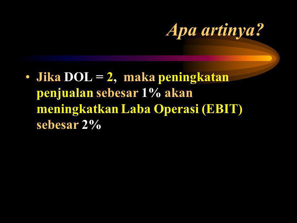 Q(P - V) Q(P - V) - F = DOLs = Penjualan – B. Variabel EBIT