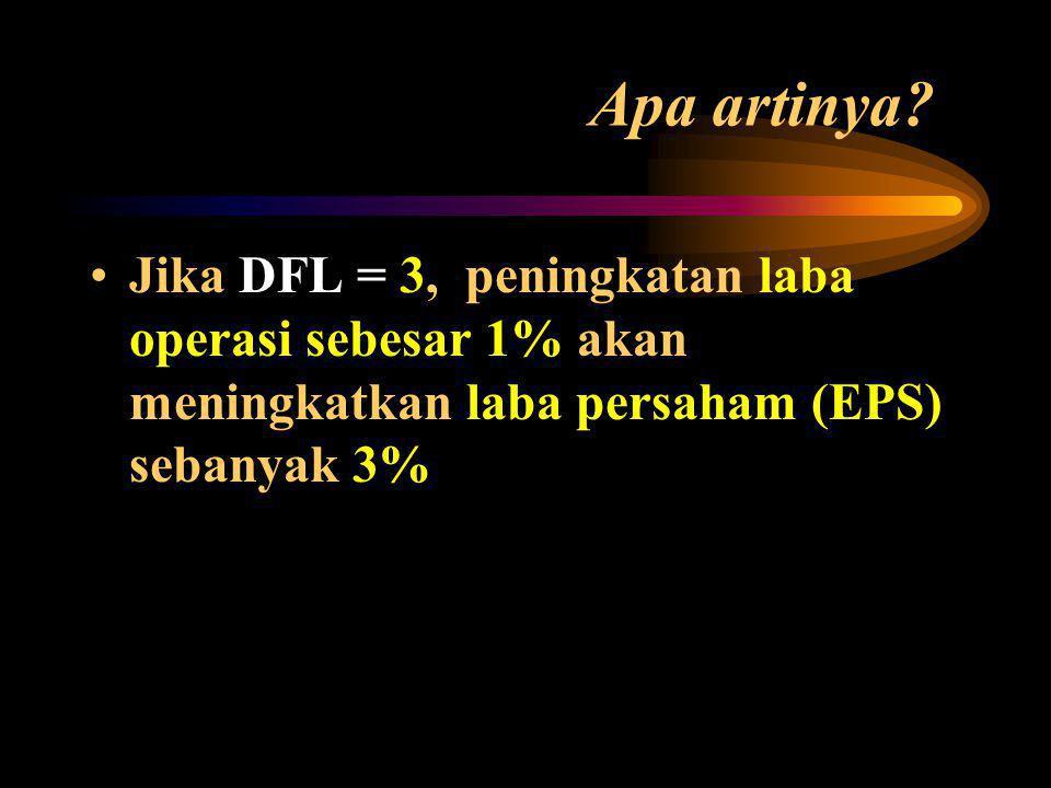 DFL = EBIT EBIT - I I = Total biaya tetap keuangan (bunga atau deviden)