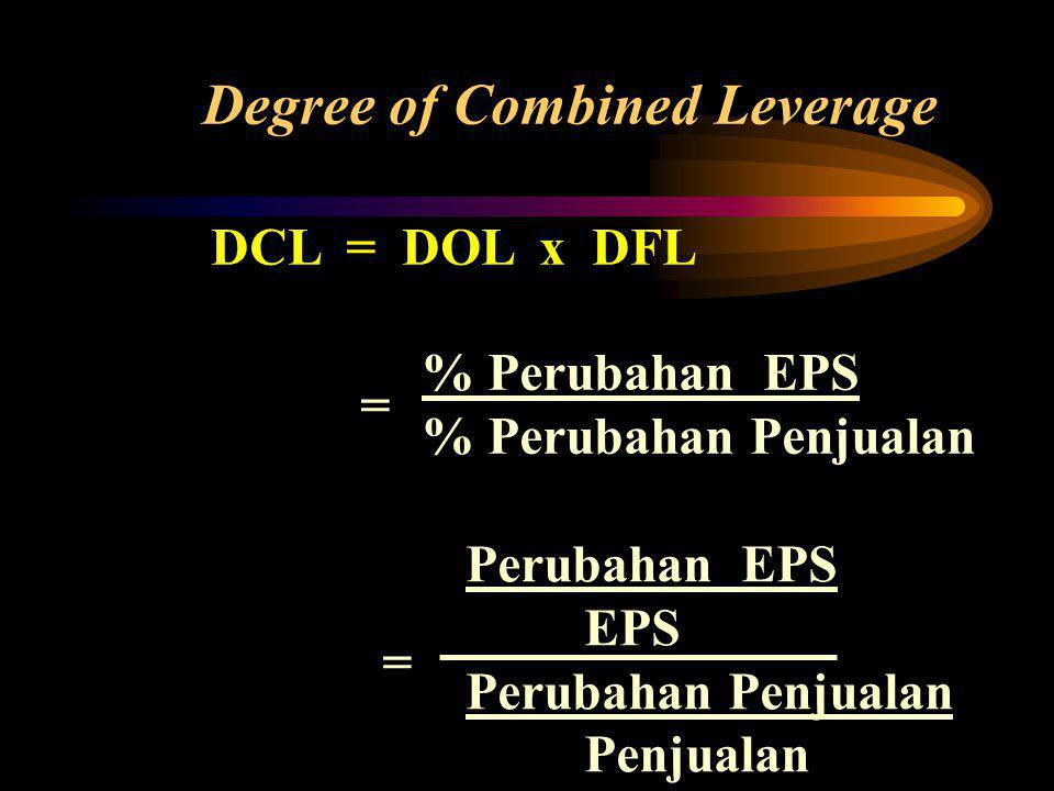 DCL = DOL x DFL Degree of Combined Leverage % Perubahan EPS % Perubahan Penjualan =
