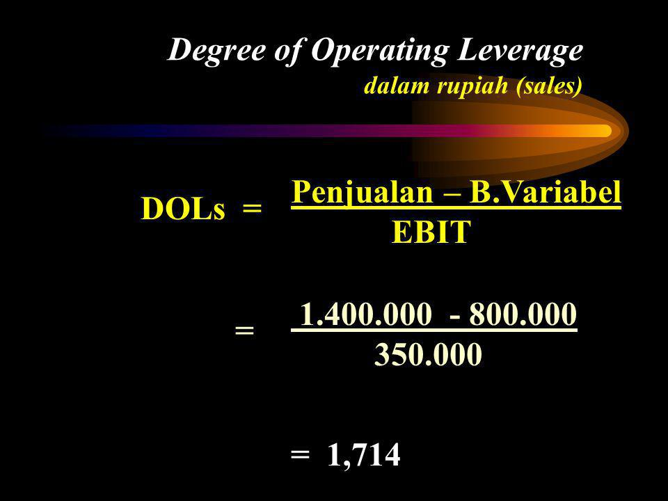 Degree of Operating Leverage dalam rupiah (sales) 1.400,000 - 800.000 350.000 = DOLs = Penjualan – B.Variabel EBIT