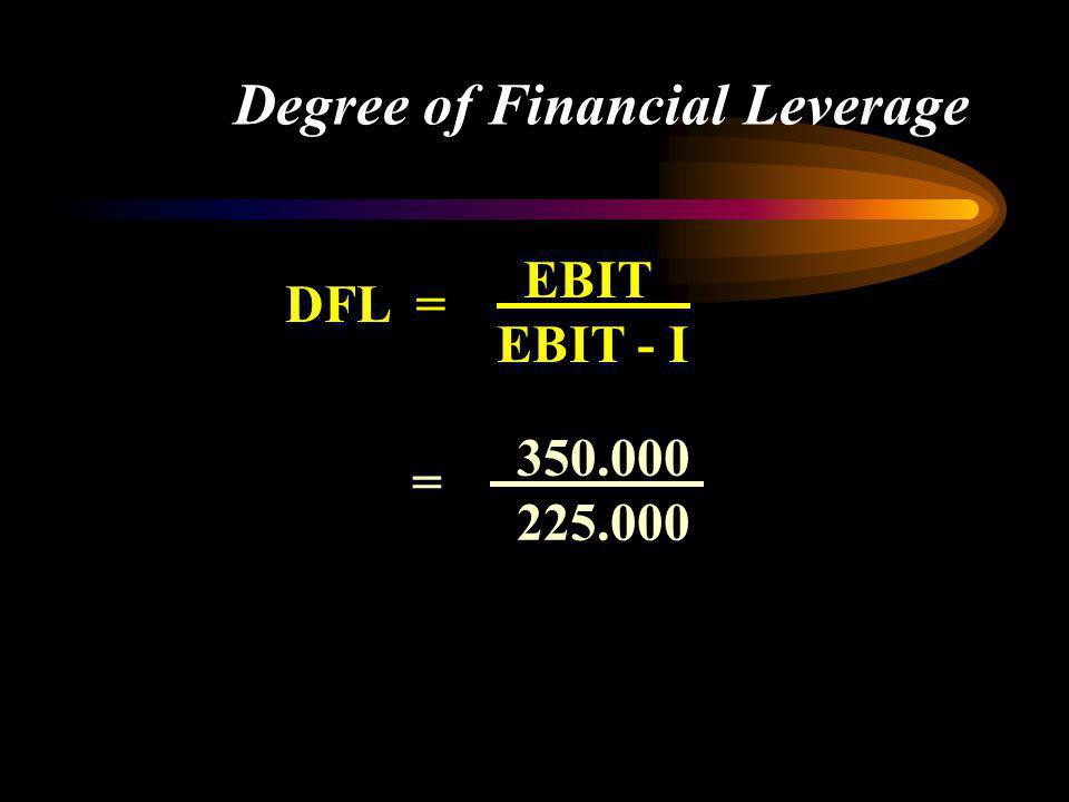 Degree of Financial Leverage DFL = EBIT EBIT - I