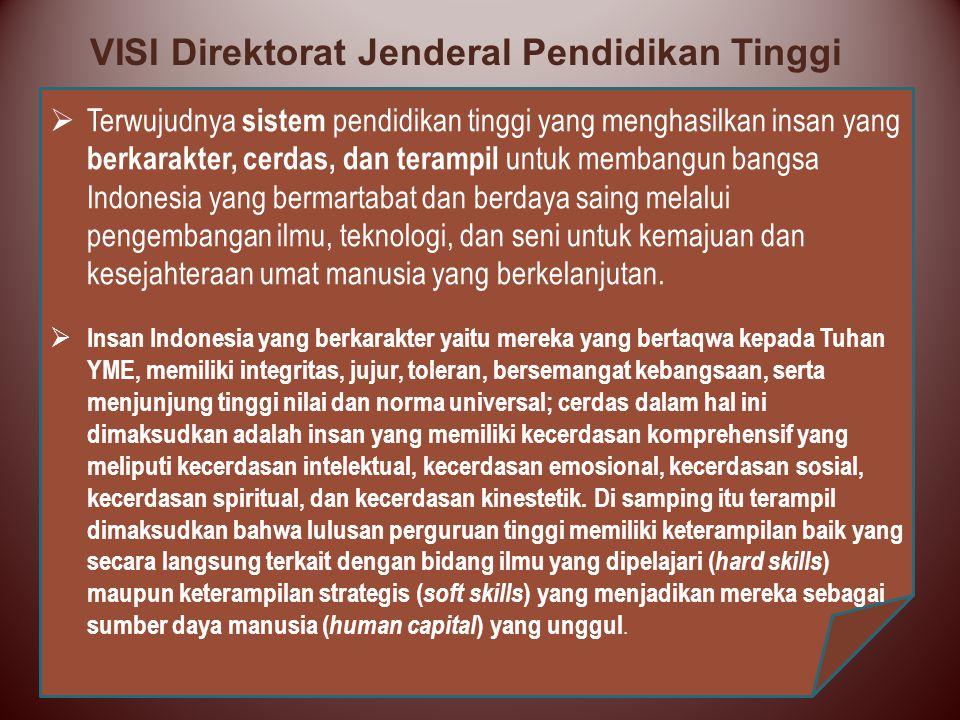  Terwujudnya sistem pendidikan tinggi yang menghasilkan insan yang berkarakter, cerdas, dan terampil untuk membangun bangsa Indonesia yang bermartaba