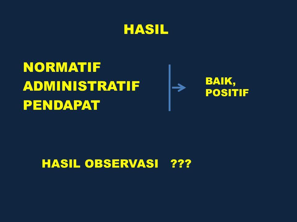 HASIL NORMATIF ADMINISTRATIF PENDAPAT BAIK, POSITIF HASIL OBSERVASI ???