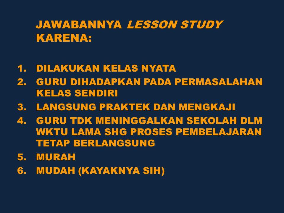 JAWABANNYA LESSON STUDY KARENA: 1.DILAKUKAN KELAS NYATA 2.GURU DIHADAPKAN PADA PERMASALAHAN KELAS SENDIRI 3.LANGSUNG PRAKTEK DAN MENGKAJI 4.GURU TDK MENINGGALKAN SEKOLAH DLM WKTU LAMA SHG PROSES PEMBELAJARAN TETAP BERLANGSUNG 5.MURAH 6.MUDAH (KAYAKNYA SIH)
