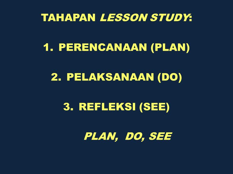 TAHAPAN LESSON STUDY: 1.PERENCANAAN (PLAN) 2.PELAKSANAAN (DO) 3.REFLEKSI (SEE) PLAN, DO, SEE