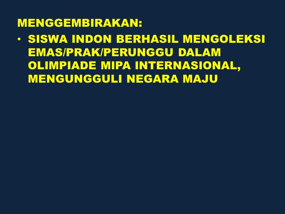 MENGGEMBIRAKAN: SISWA INDON BERHASIL MENGOLEKSI EMAS/PRAK/PERUNGGU DALAM OLIMPIADE MIPA INTERNASIONAL, MENGUNGGULI NEGARA MAJU