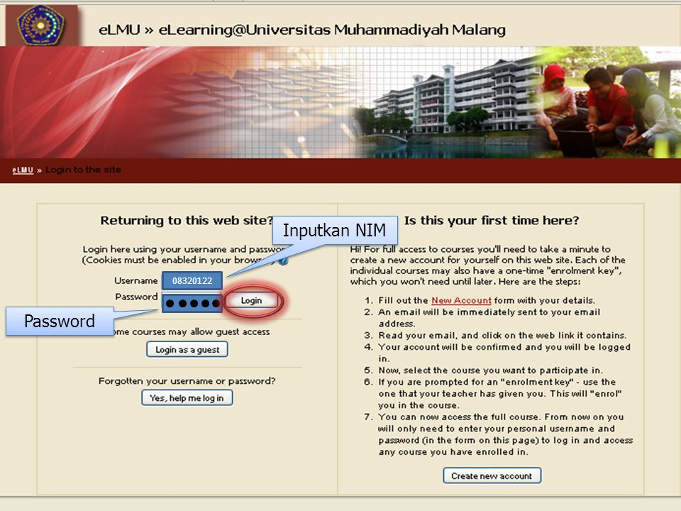 08320122 Inputkan NIM Inputkan NIM Password Password