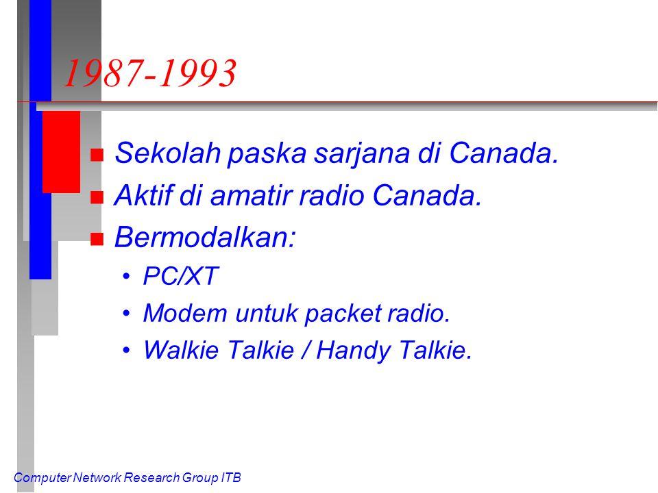 Computer Network Research Group ITB 1987-1993 n Sekolah paska sarjana di Canada.