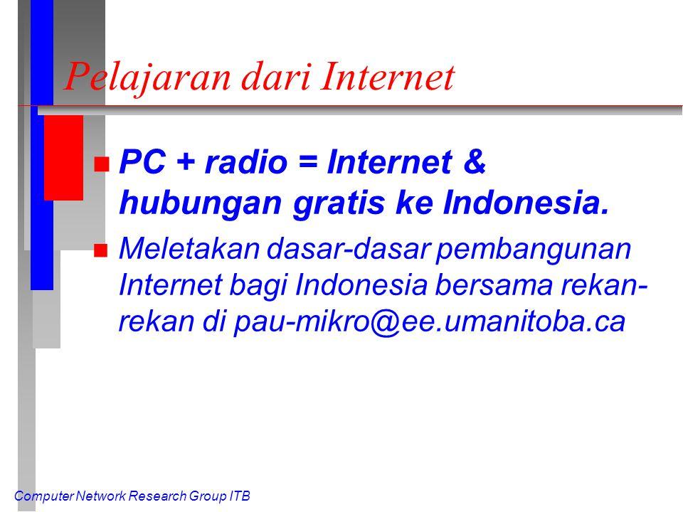 Computer Network Research Group ITB Pelajaran dari Internet n PC + radio = Internet & hubungan gratis ke Indonesia. n Meletakan dasar-dasar pembanguna