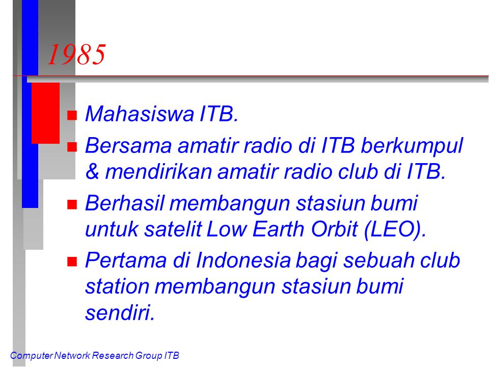 Computer Network Research Group ITB 1985 n Mahasiswa ITB.