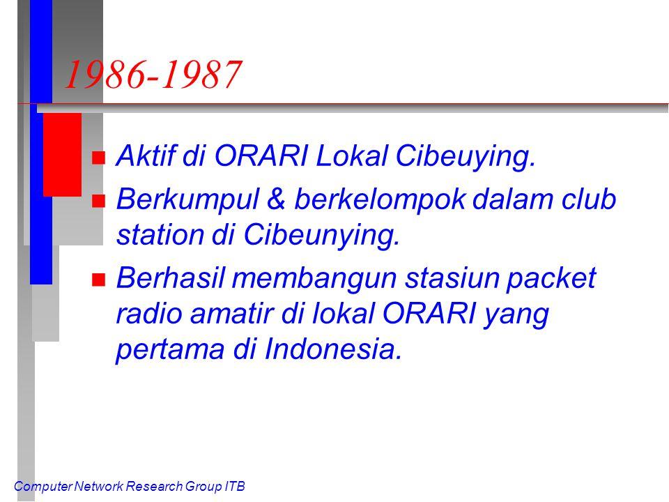 Computer Network Research Group ITB 1986-1987 n Aktif di ORARI Lokal Cibeuying. n Berkumpul & berkelompok dalam club station di Cibeunying. n Berhasil