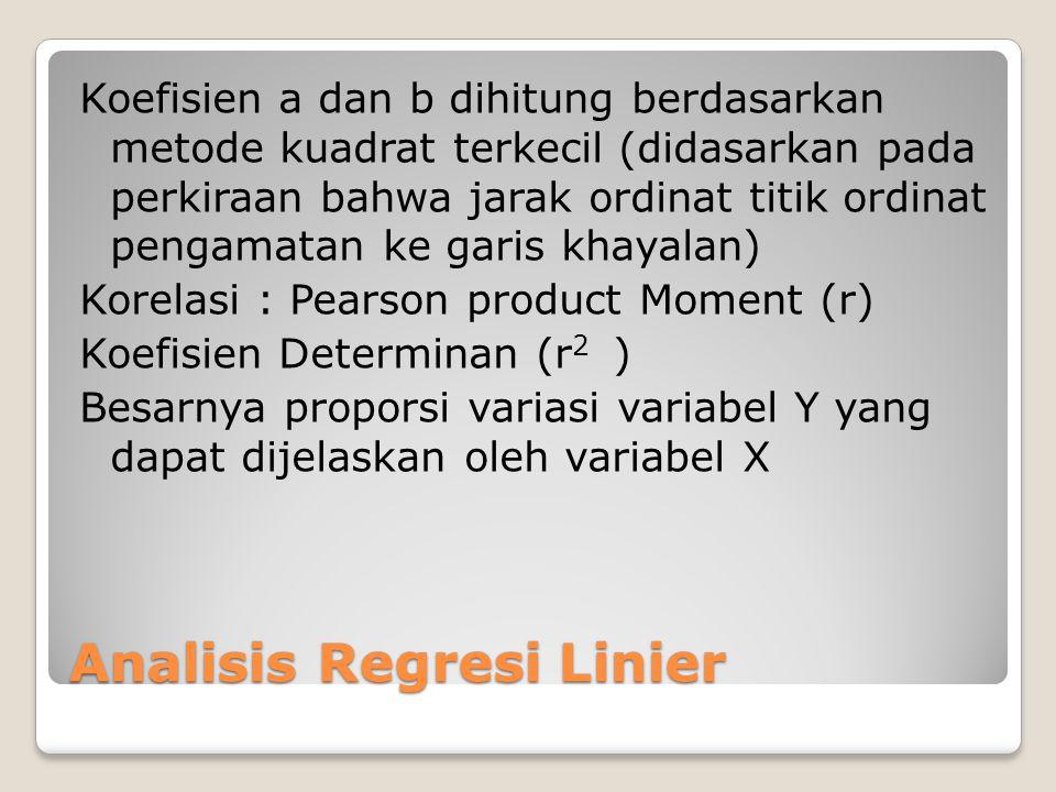 Analisis Regresi Linier Koefisien a dan b dihitung berdasarkan metode kuadrat terkecil (didasarkan pada perkiraan bahwa jarak ordinat titik ordinat pe