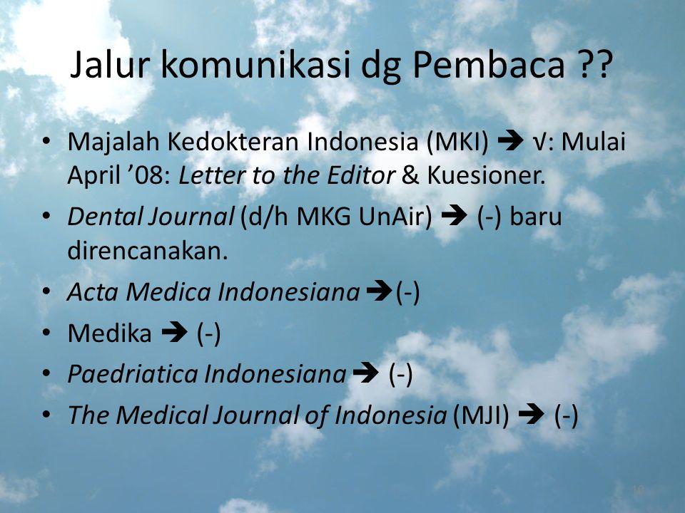 Penulis  Jurnal  Pembaca Contoh Kerjasama: Penulis  Jurnal  Pembaca Makalah Kedokteran Indonesia: Letter to the editor Prog Continuing Professional Development (CPD) & MKI > mengundang para Pembaca melakukan uji diri dg menjwb sejumlah pert.