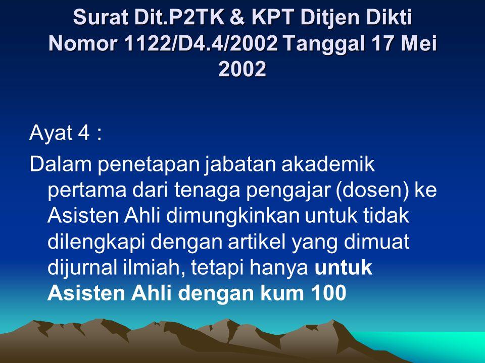 Surat Dit.P2TK & KPT Ditjen Dikti Nomor 1122/D4.4/2002 Tanggal 17 Mei 2002 Ayat 4 : Dalam penetapan jabatan akademik pertama dari tenaga pengajar (dos