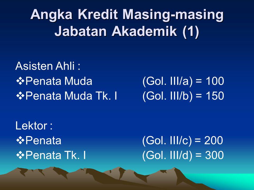 Angka Kredit Masing-masing Jabatan Akademik (2) Lektor Kepala :  Pembina (Gol IV/a) = 400  Pembina Tk.