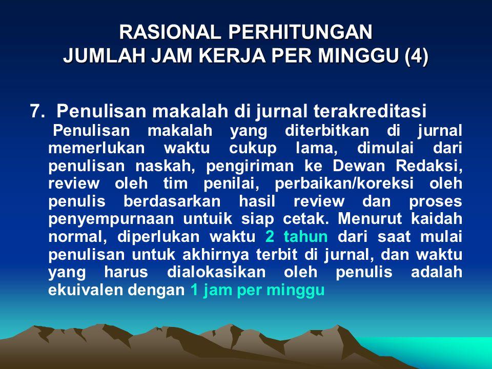 RASIONAL PERHITUNGAN JUMLAH JAM KERJA PER MINGGU (4) 7. Penulisan makalah di jurnal terakreditasi Penulisan makalah yang diterbitkan di jurnal memerlu