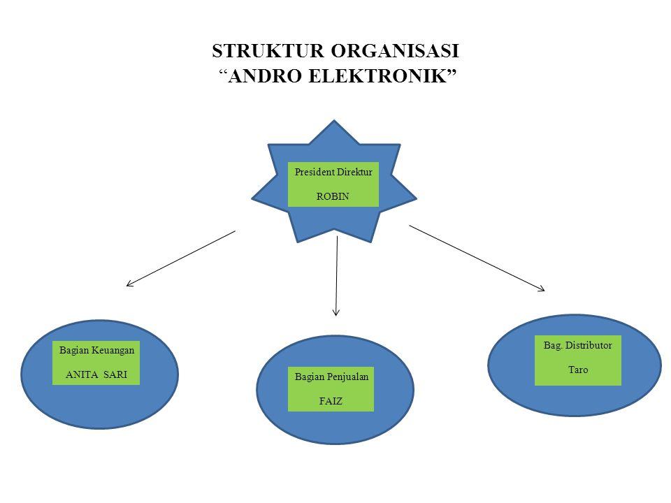 "STRUKTUR ORGANISASI ""ANDRO ELEKTRONIK"" President Direktur ROBIN Bagian Penjualan FAIZ Bag. Distributor Taro Bagian Keuangan ANITA SARI"