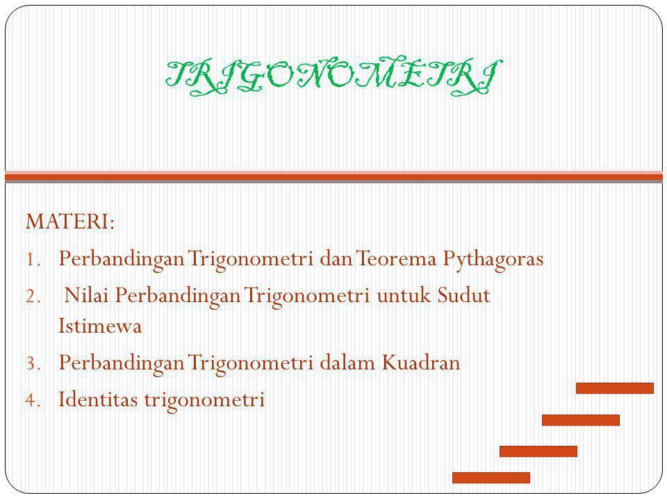 TRIGONOMETRI 1.Perbandingan Trigonometri & Teorema Pythagoras Ketahuilah, pada Pythagoras hanya berlaku pada segi tiga siku- siku dan sisimiring atau disebut dengan hipotenusa sama dengan jumlah pada kedua sisi siku-siku segitiga.