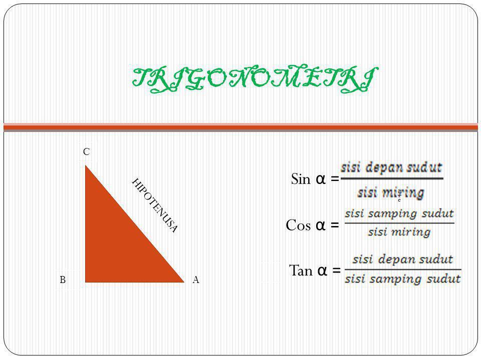 TRIGONOMETRI cosec α = Sec α = Cotan α = C B HIPOTENUSA A